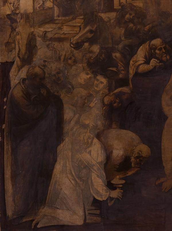 11 DURANTE PULITURA  LUCE VISIBILE Adorazione  PARTICOLARE 5 A   LEONARDO DA VINCI Adorazione dei Magi  _2014 OPD foto Pino Zicarelli