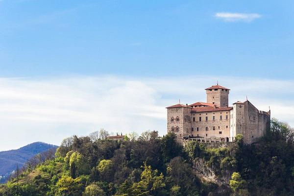Rocca Borromeo fortress at Angera on lake maggiore, Italy.
