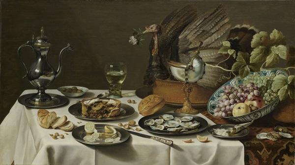 pieter-claesz_stilleven-met-kalkoenpastei_1627_rijksmuseum