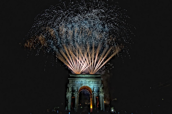 34811299 - happy new year fireworks on triumph arc in genoa italy