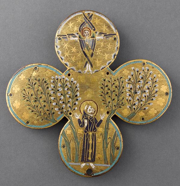 Plaque quadrilobée de reliquaire : saint François d'Assise recevant les stigmates