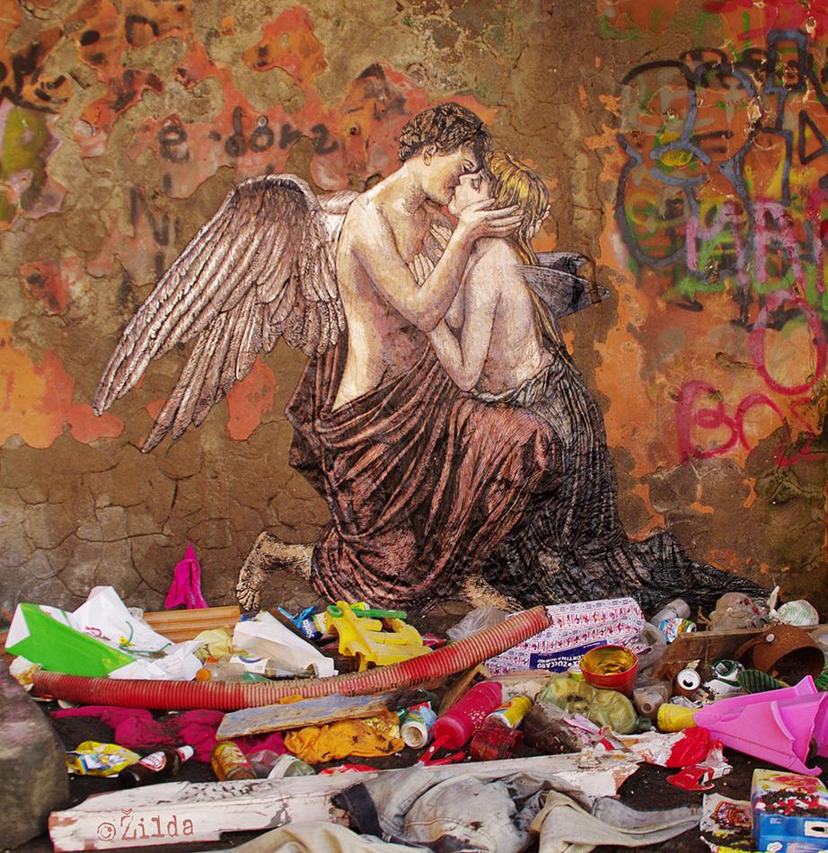 Amore e Psiche Zilda street art Naples