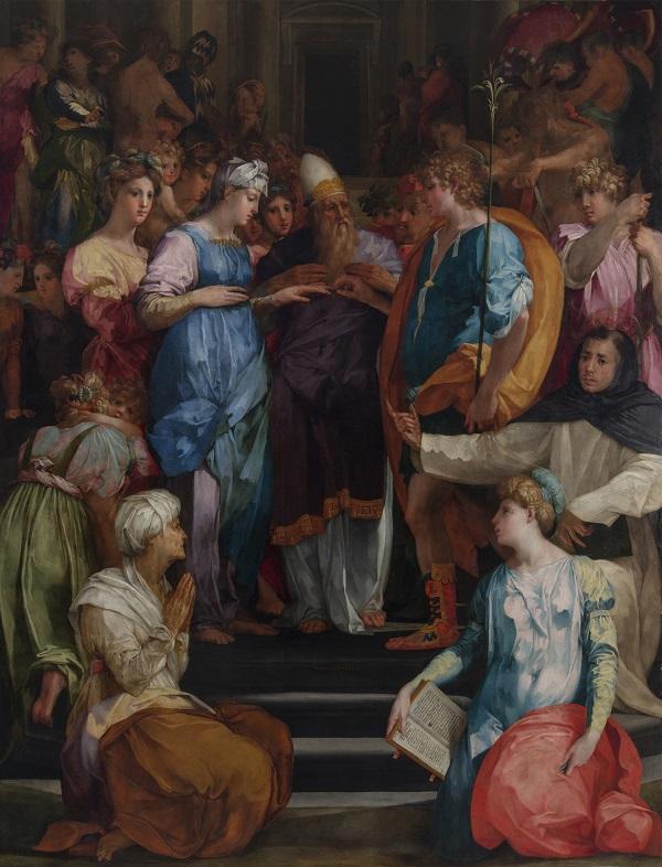 B Sposalizio della vergine na de huidige restauratie