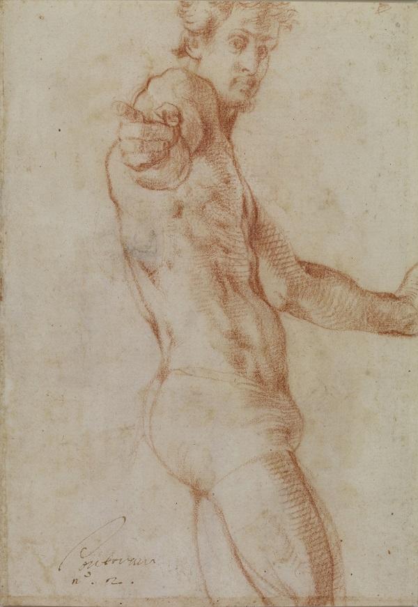 C Tekening van man, waarschijnlijk het zelfportret Pontormo
