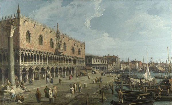 Canaletto-Dogenpaleis-Riva-degli-Schiavoni-The-National-Gallery-Londen