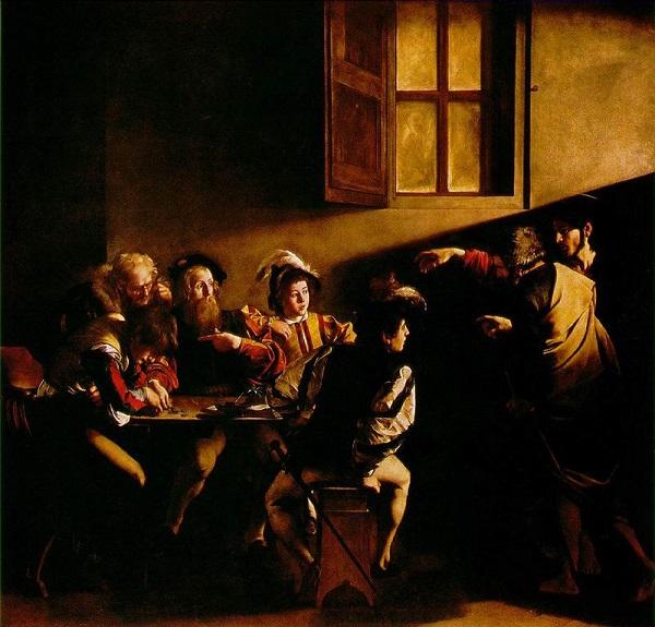 De roeping van Mattheus - Caravaggio