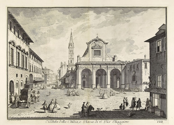 Giuseppe Zocchi, View of Church of San Pier Maggiore, 1744, album, etching with engraving, 62.5 × 80 cm, The British Museum, London, 1922,0410.142.20 © The Trustees of The British Museum