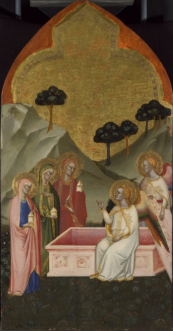 Jacopo di Cione, The Three Marys at the Sepulchre Upper Tier Panel, 1370-1, egg Tempera on wood, 95.6 x 49.1 cm © The National Gallery, London