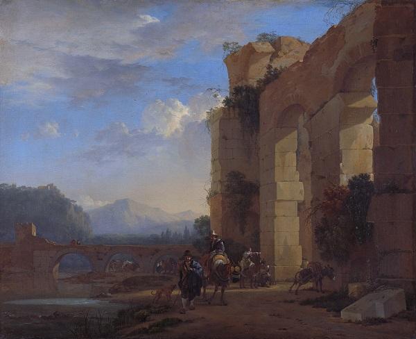 Ezeldrijvers bij een Italiaanse ruïne