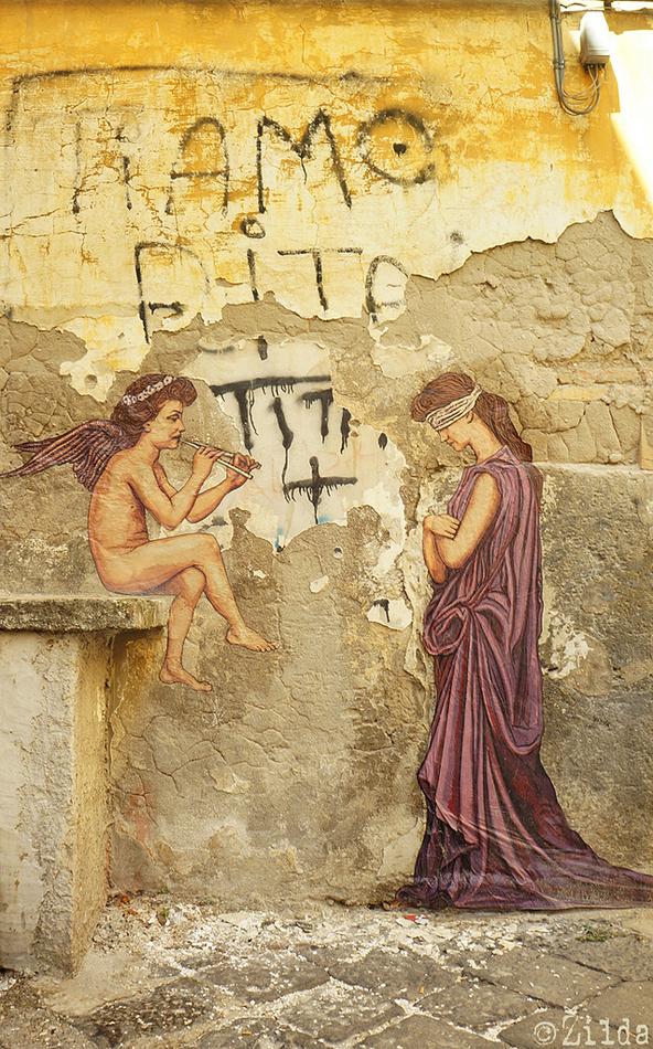L'Amore Mistificatore Zilda street art Naples
