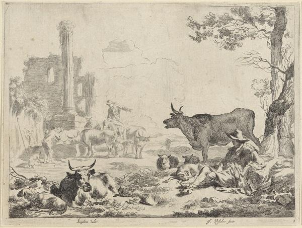 Landschap met herders en vee bij een drinkplaats, Jan de Visscher, Nicolaes Pietersz. Berchem, 1653 - 1706, Rijksmuseum