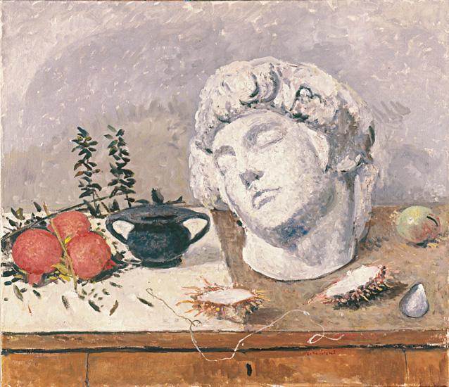 Natura morta con la testa di Michelangelo e tre melograne 1989