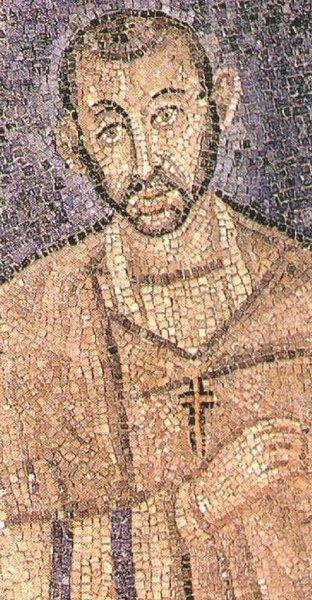 Mozaïek in de Sint Ambrosius in Milaan; mogelijkerwijze nog tijdens zijn leven ontstaan