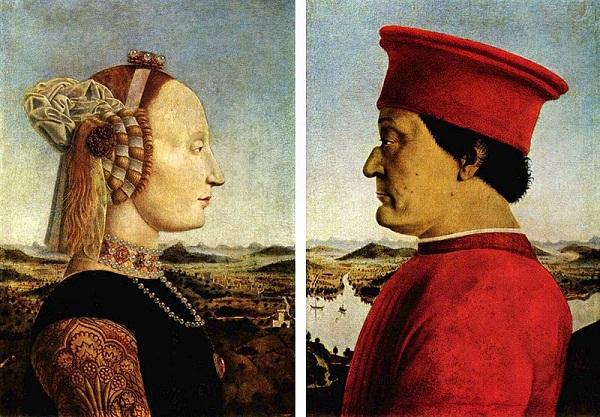 Piero-della-Francesca-hertog- Montefeltro-Battista-Sforza-Galleria-Uffizi-Florence