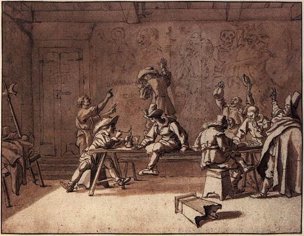 Pieter_van_Laer_Bentvueghels_in_a_Roman_Tavern, Wikimedia Commons, Kupferstich Kabinett Berlijn