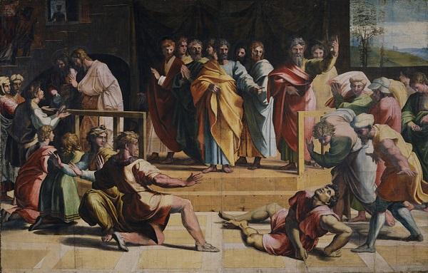 Rafaël-tapijten-Dood-van-Ananias-karton
