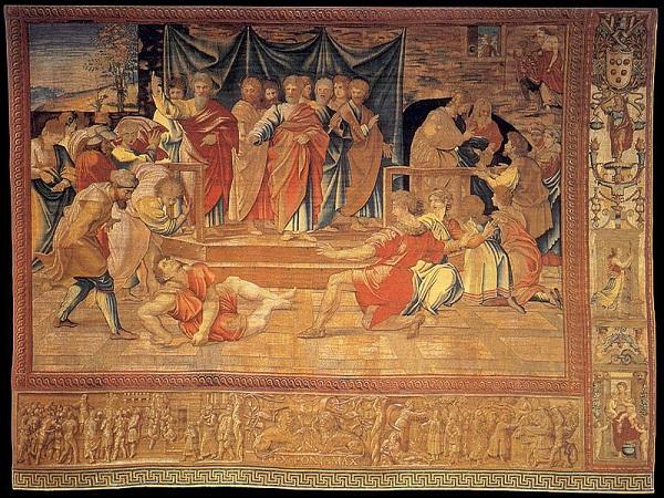 Rafaël-tapijten-Dood-van-Ananias-wandtapijt