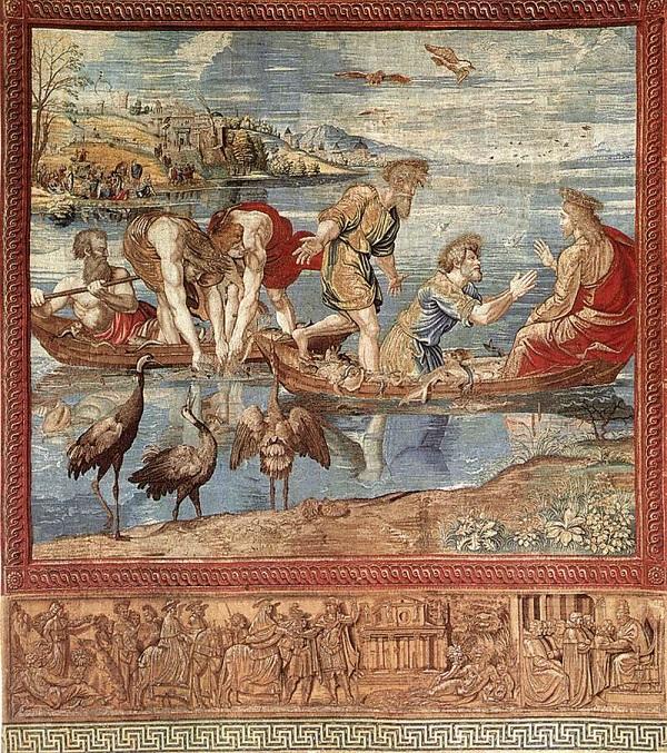Rafaël-tapijten-Wonderbaarlijke-visvangst-wandtapijt