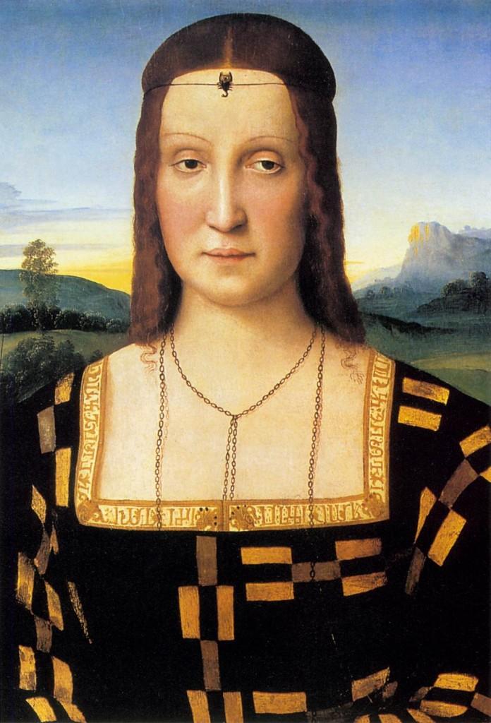 Raffaello Sanzio, portret van Elisabetta Gonzaga, Galleria degli Uffizi, Florence