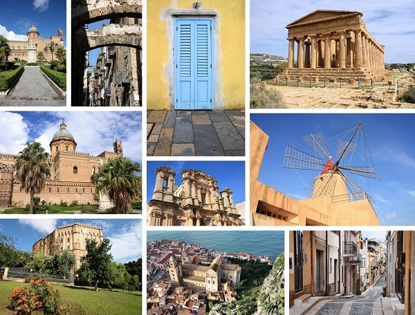 Photo collage from Sicily island, Italy. Collage includes major landmarks like Palermo, Agrigento, Marsala and Cefalu.