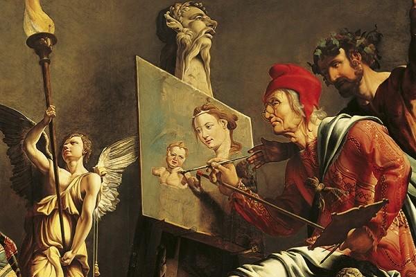 Sint-Lucas-schildert-de-Madonna-Maarten-van-Heemskerck-detail
