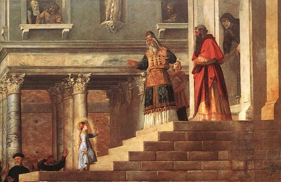 Titiaan - De tempelgang van Maria detail