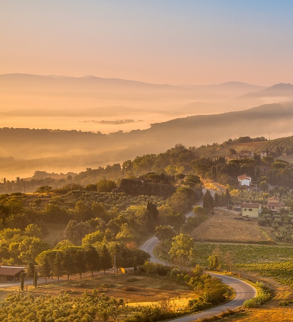Tuscany Village Landscape near Florence on a Foggy Morning, Italy