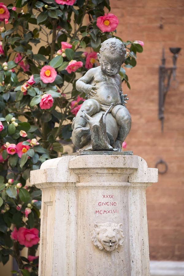 Drinking fountain with a figure of a boy on the cochlea