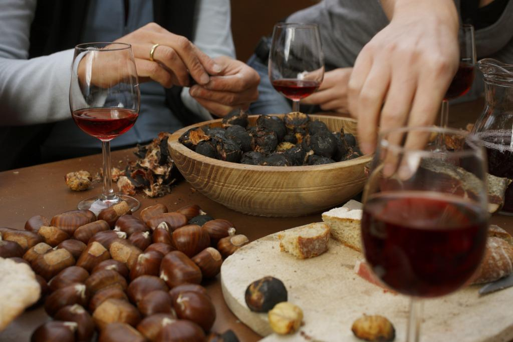 "The convivial chestnut gathering in Autumn called ""Törggelen"" is a custom all over South Tyrol. A hearty meal is concluded with roasted chestnuts."