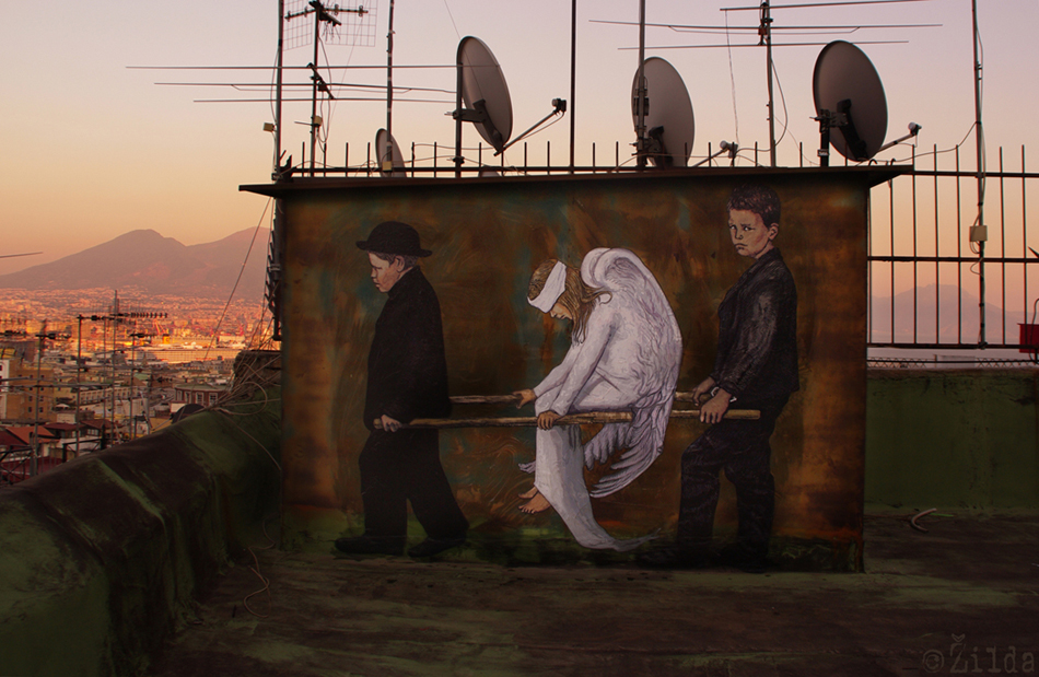 l'Angelo Ferito Zilda street art Naples