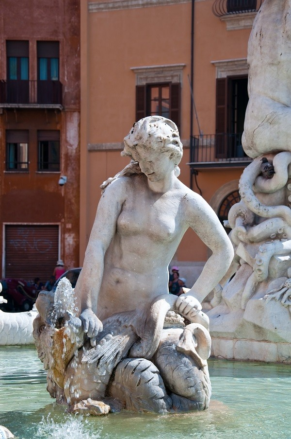 Detail of the Fontana del Nettuno, Rome, Italy.