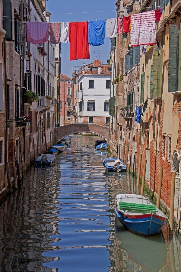 Venice, canal, water reflection and laundry hanging