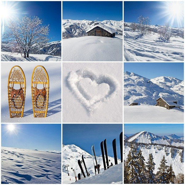 Winter snowy landscape collage